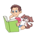 Boy and puppy reading a book vector image