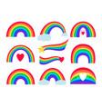 cartoon rainbow stripes vector image vector image