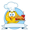 chef yellow chick character holding a fast food vector image vector image