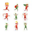 christmas elf characters santa elves young xmas vector image