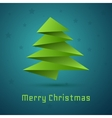 Christmas tree on blue background with stars vector image vector image