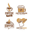 coffee shop emblems with hot and cold beverages vector image vector image