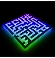 Colorful maze labyrinth on black background vector image