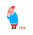cute funny pig character dressed in warm bright vector image vector image