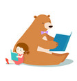 cute girl and fluffy bear are reading a book vector image vector image