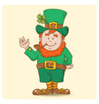 Cute Saint Patricks Leprechaun in top-hat vector image vector image