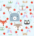 cute wild animal head seamless pattern vector image