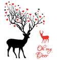 Deer couple with red hearts vector image vector image