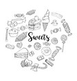 different sweets collection doodle style clipart vector image