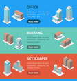 different types office building 3d banner vector image vector image