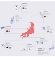 Dot And Flag Map Of Japan Infographic Design vector image vector image