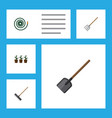 flat icon garden set of shovel hosepipe hay fork vector image vector image