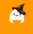halloween party banner with cute ghost in witch vector image vector image