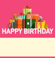 happy birthday party card with gift boxes on pink vector image vector image