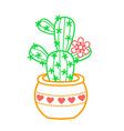 icon of a potted fcactus linear style vector image