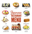 japanese cuisine traditional dishes set vector image