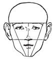 male face shown with a bald head vintage engraving vector image vector image
