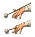 male hand in a shirt is aimed cue the ball vector image vector image