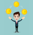 man juggling with gold coins with different vector image