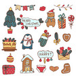 merry christmas holiday big set of hand vector image vector image