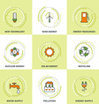 Modern Ecology Line Icons Set New Technology Clean vector image