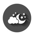 moon and stars with clods icon in flat style vector image