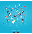 office work integrated 3d web icons digital vector image