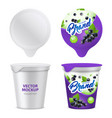 realistic yogurt package icon set vector image vector image