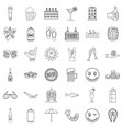 restaurant icons set outline style vector image vector image
