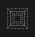 retrofuturistic perspective grid tunnel digital vector image vector image