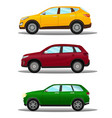 set of different off-road vehicles in three colors vector image vector image