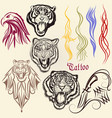 set of hand drawn tattoo with animals vector image vector image