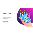 smart city 3d lp3 template vector image vector image