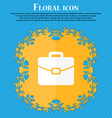 suitcase icon Floral flat design on a blue vector image vector image