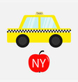 taxi car cab icon red apple fruit new york symbol vector image