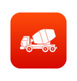 truck concrete mixer icon digital red vector image vector image