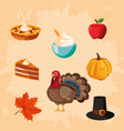 turkey of thanksgiving day with set icons vector image