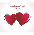 two valentines paper hearts gift card vector image vector image