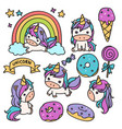 unicorn cartoon doodle vector image vector image