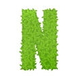 Uppecase letter N consisting of green leaves vector image vector image