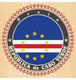 Vintage label cards of Cape Verde flag vector image vector image