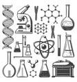 vintage laboratory research elements set vector image vector image