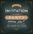 vintage party invitation card on chalkboard vector image