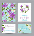 wedding invitation template with clematis flowers vector image vector image