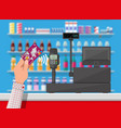 wireless payment in supermarket vector image vector image