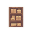wooden cabinet with brown boxes old parcel vector image