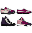 a set of shoes blue purple and lilac sport shoes vector image