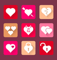 set of heart icons flat design vector image