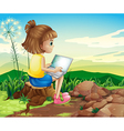A girl surfing the net while sitting above a stump vector image vector image