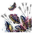 background with hand drawn feathers in boho style vector image vector image